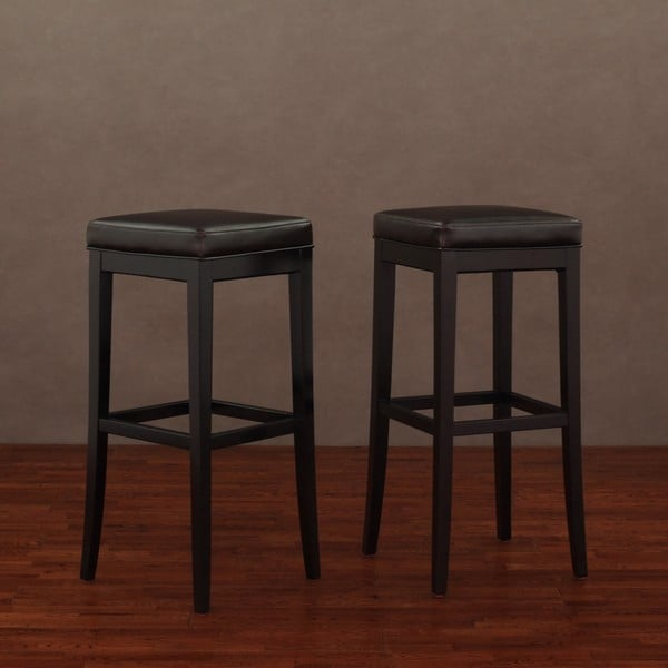 Kari Dark Brown Leather Bar Stools Set Of 2 Free