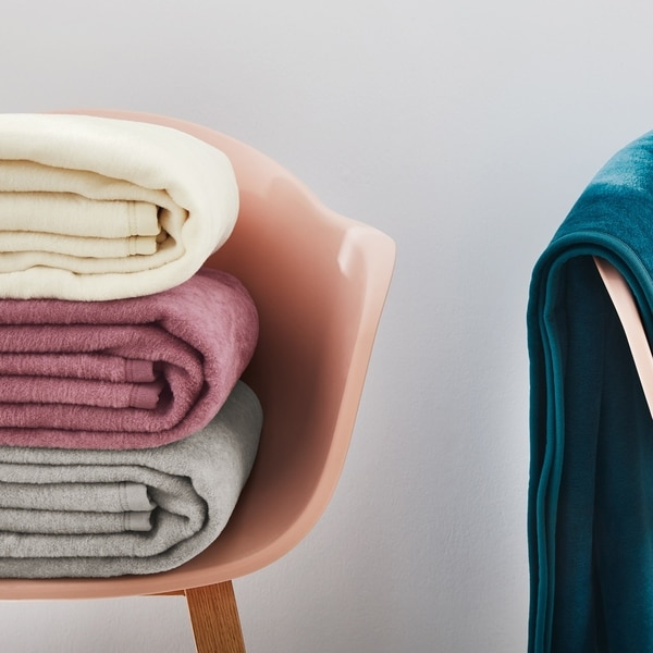 IBENA Solid Plush Throw in 13 Colors