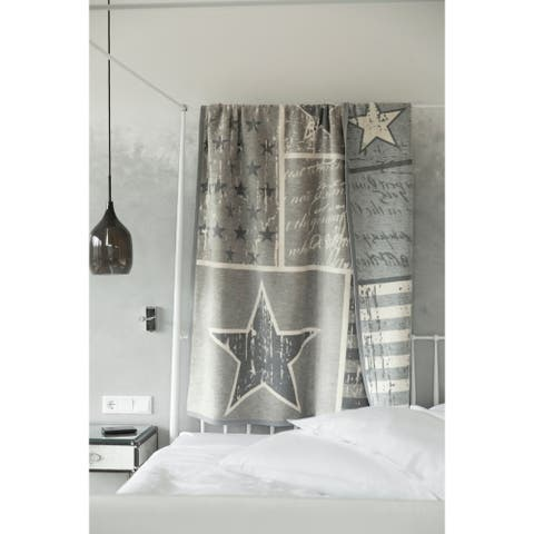 IBENA Nostalgia Stars and Stripes Jacquard Blanket Arlington