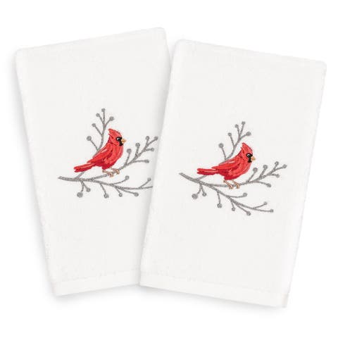 Authentic Hotel and Spa Turkish Cotton Cardinal White Set of 2 Hand Towels