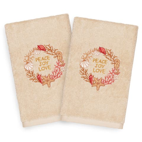 Authentic Hotel and Spa Turkish Cotton Peace Beige Set of 2 Hand Towels