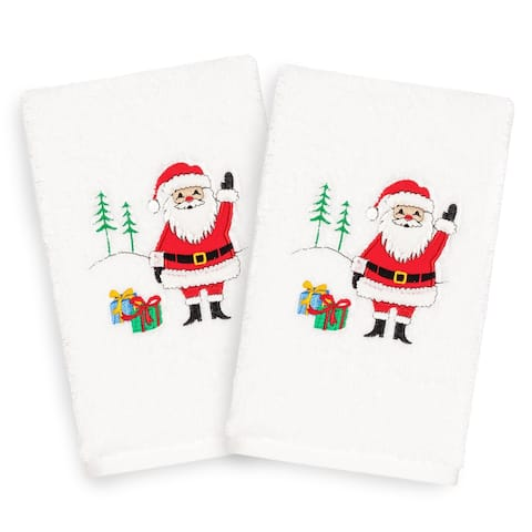 Authentic Hotel and Spa Turkish Cotton Waving Santa White Set of 2 Hand Towels
