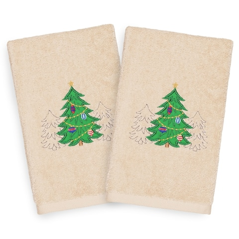 Authentic Hotel and Spa Turkish Cotton Christmas Trees Beige Set of 2 Hand Towels
