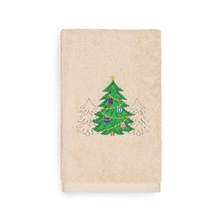 Authentic Hotel and Spa Turkish Cotton Christmas Trees Beige Hand Towel
