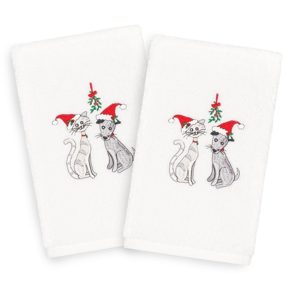 Authentic Hotel and Spa Turkish Cotton Holiday Pets White Set of 2 Hand Towels. Opens flyout.