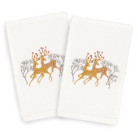 Authentic Hotel and Spa Turkish Cotton Gold Reindeer on White Set of 2 Hand Towels