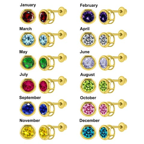 14k Yellow Gold Bezel-set Cubic Zirconia 4-mm Birthstone Earring Studs