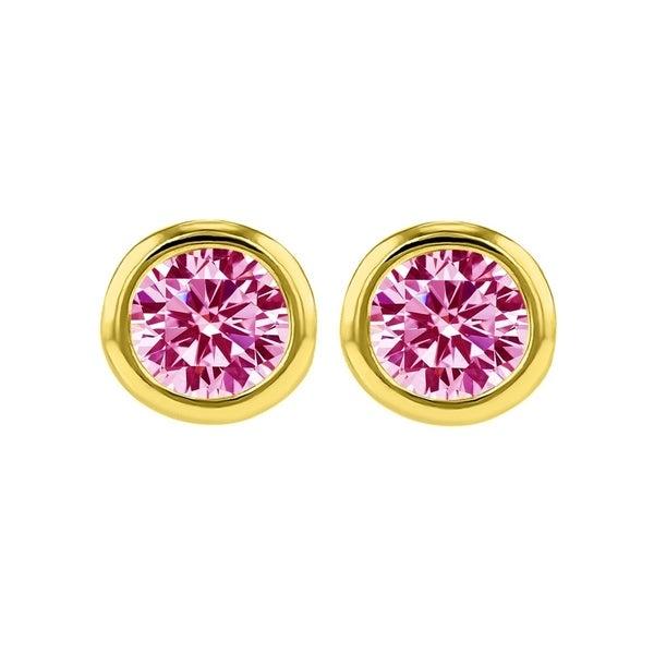 14k Yellow Gold 4 mm Bezel-set Cubic Zirconia Birthstone Stud Earrings