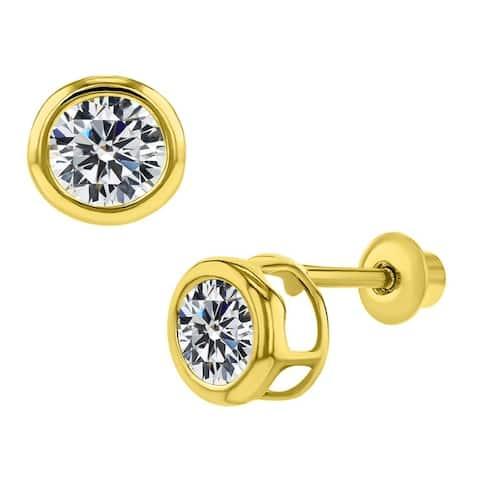 14k Yellow Gold Bezel-set Cubic Zirconia 4-mm Birthstone Earring Studs