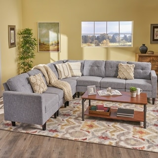 Delilah Mid Century Modern Extended Sectional Sofa Set (Set of 7) by Christopher Knight Home
