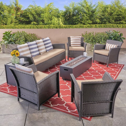 St. Lucia Outdoor 7 Seater Wicker Chat Set with Fire Pit by Christopher Knight Home