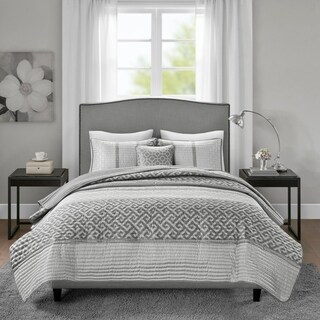 Madison Park Christian Grey 4 Piece Jacquard Coverlet Set