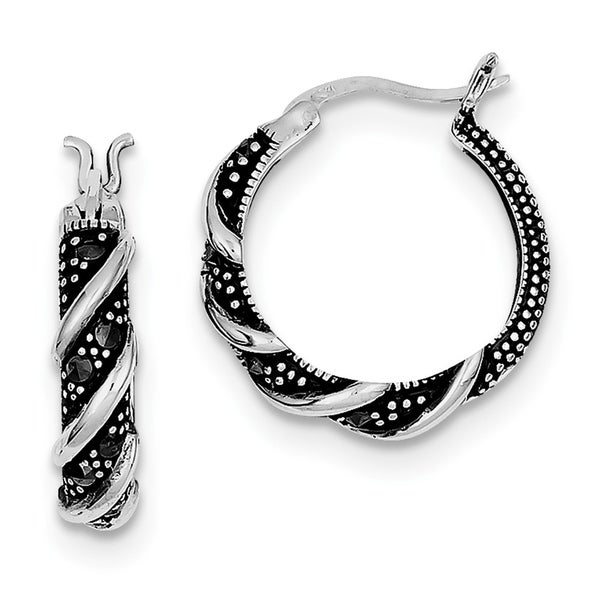 da72d79eb Shop Curata Sterling Silver Swirl Hoop Marcasite Earrings - 5/8 Inch  diameter - Free Shipping Today - Overstock - 22926862