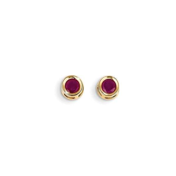 Curata 14k Yellow Gold 5mm Round Genuine Ruby Stud Earrings