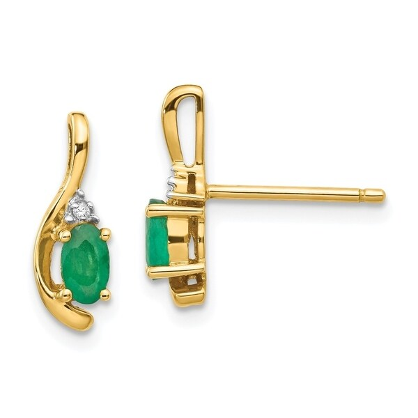 Curata 14k Yellow Gold Diamond And Genuine Emerald Earrings 5x14mm