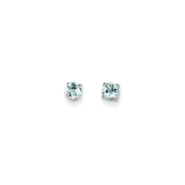 698cbaf0c Shop Curata 14k White Gold 4mm Aquamarine Stud Earrings - On Sale - Free  Shipping Today - Overstock - 22926909