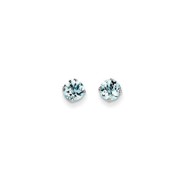 3bab524c8 Shop Curata 14k White Gold 5mm Aquamarine Stud Earrings - On Sale - Free  Shipping Today - Overstock - 22926916