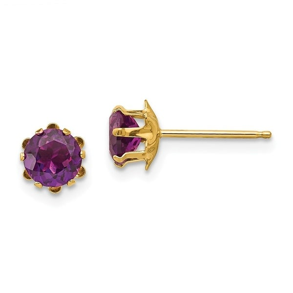 Curata 14k Yellow Gold 5mm Synthetic Alexandrite Earrings 5x5mm