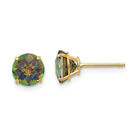 Curata 14k Yellow Gold Round Mystic Topaz 6mm Post Earrings