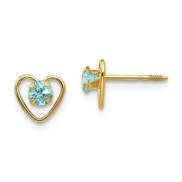 Curata 14k Yellow Gold 3mm Aquamarine Birthstone Heart Childrens Earrings 6x6mm