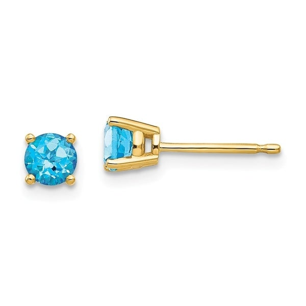 Curata 14k Yellow Gold 4mm Round Blue Topaz Stud Earrings