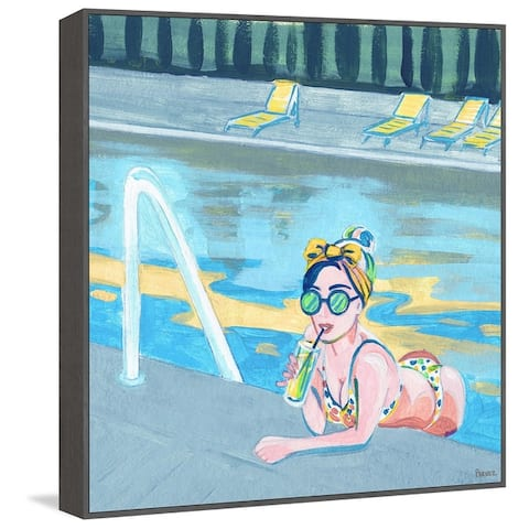 Handmade Bow in the Pool Floater Framed Print on Canvas