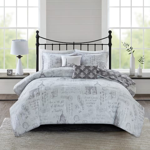 510 Design Mariam Gray/ Charcoal 5-Piece Reversibel Paris Printed Comforter Set