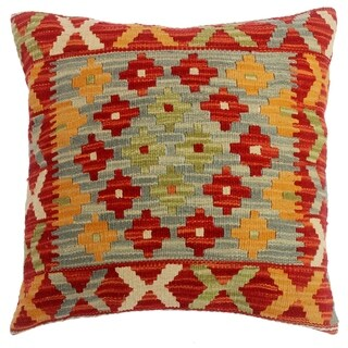 """Chasity Red/Gray Hand-Woven Kilim Throw Pillow(18""""x18"""")"""