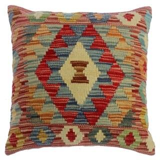 "Chasidy Pink/Gray Hand-Woven Kilim Throw Pillow(18""x18"")"