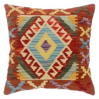 "Chet Red/Lt. Blue Hand-Woven Kilim Throw Pillow(18""x18"")"