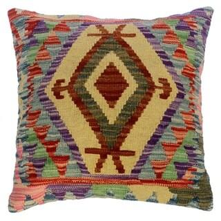 "Christin Purple/Lt. Blue Hand-Woven Kilim Throw Pillow(18""x18"")"