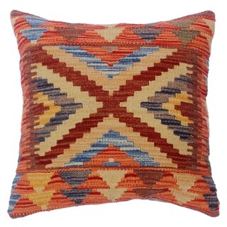 "Cherryl Orange/Brown Hand-Woven Kilim Throw Pillow(18""x18"")"