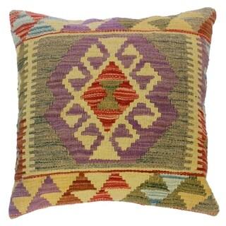 "Clair Purple/Gray Hand-Woven Kilim Throw Pillow(18""x18"")"