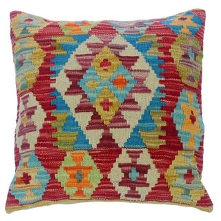 """Cliff Red/Ivory Hand-Woven Kilim Throw Pillow(18""""x18"""")"""