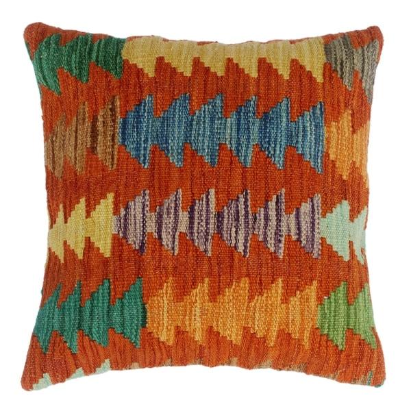 Shop Dakota Orange Green Hand Woven Kilim Throw Pillow 18