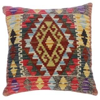 "Christy Rust/Brown Hand-Woven Kilim Throw Pillow(18""x18"")"
