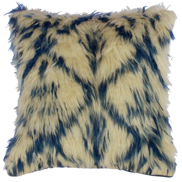 "Dan Ivory/Blue Handmade Moroccan Wool Throw Pillow(18""x18"")"