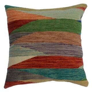 "Denita Rust/Purple Hand-Woven Kilim Throw Pillow(18""x18"")"