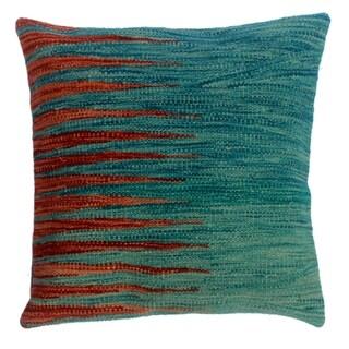 """Devon Blue/Rust Hand-Woven Kilim Throw Pillow(18""""x18"""")"""