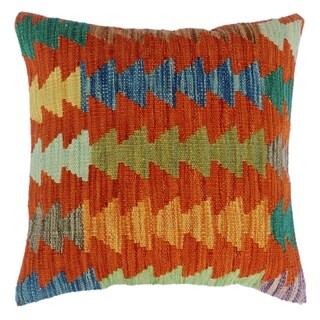 "Dale Orange/Blue Hand-Woven Kilim Throw Pillow(18""x18"")"