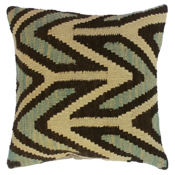 Shop Darla Lt. Blue Ivory Hand-Woven Kilim Throw Pillow(18