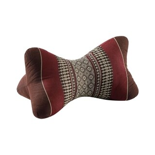 My Zen Home Star Kapok Back and Neck Support Pillow - Brown and Burgundy