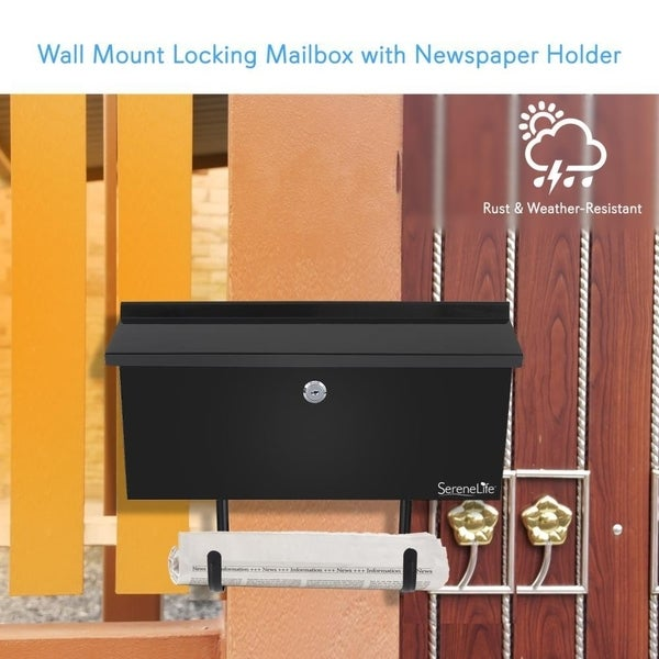 Includes Keys Indoor//Outdoor Wall Mount Locking Mailbox with Newspaper Holder