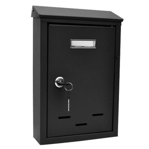 SereneLife SLMAB24 Black Indoor Outdoor Wall Mount Locking Mailbox with Keys