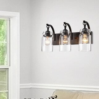 Anastasia Antique Black 3-Light Wall Sconce with Clear Glass Shade