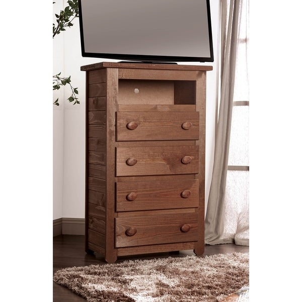 Wooden 4 Drawers Media Chest With 1 Top Shelf In Mahogany Finish, Brown