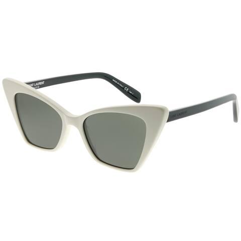 Saint Laurent Cat-Eye SL 244 Victoire 003 Women Ivory Frame Grey Lens Sunglasses