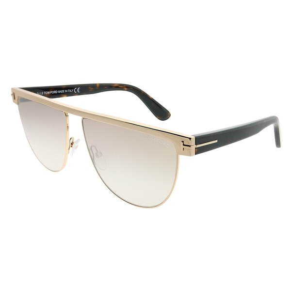 Tom Ford Rectangle TF 570 Stephanie 28G Women Shiny Rose Gold Frame Brown Mirror Gradient Lens Sunglasses. Opens flyout.