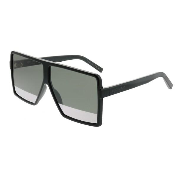 2423ce704d9 Saint Laurent Square SL 183 Betty S 002 Unisex Black Frame Silver Mirror  Lens Sunglasses