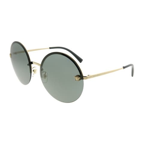 b754498271 Versace Round VE 2176 12524T Unisex Pale Gold Frame Silver Mirror Lens  Sunglasses
